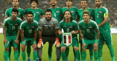منتخب العراق يتوشح بالاسود أمام إيران